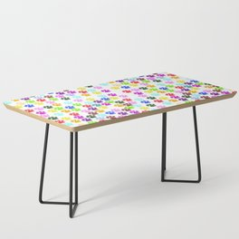 Dog Paws, Trails, Paw-prints - Red Blue Green Coffee Table