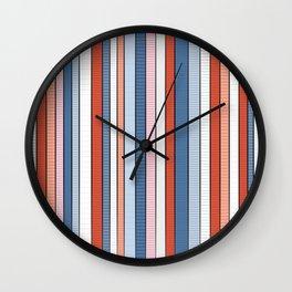Striped pattern Colorful Stripe design - red, blue, white, orange Wall Clock