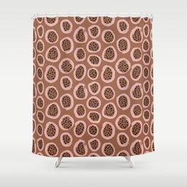 Raw brush minimal fruit garden abstract circle pattern Shower Curtain