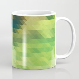 Green yellow triangle pattern, lake Coffee Mug