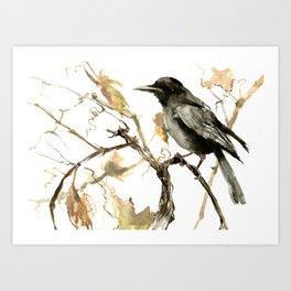 Crow in the Fall, Tribal Crow Raven art Art Print