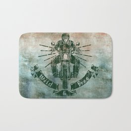 Wild and Free Motorbike Rider Bath Mat