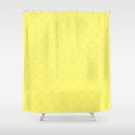 Yellow Concentric Circle Pattern Shower Curtain