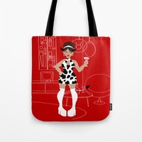 60s Tote Bags featuring 60s Zodiac Gals: Taurus by Skart87