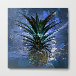 Silver Leaf Tropical Pineapple #buyart Metal Print