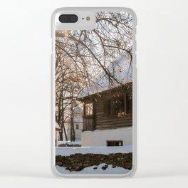 Winter tale in an old Romanian village Clear iPhone Case