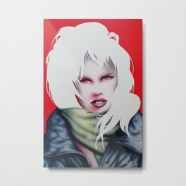 Girl with leather jacket Metal Print