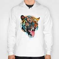 animals Hoodies featuring FEROCIOUS TIGER by dzeri29