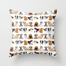 Too Many Puppies! Throw Pillow