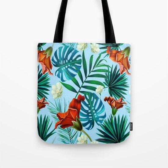 Sky blue tropical floral Tote Bag