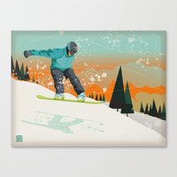 snowboard Canvas Prints featuring Snowboard Jump by Park City Posters
