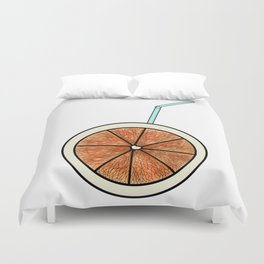 bright orange and cocktail straw Duvet Cover