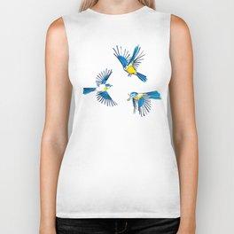 Flying Blue Tit / Bird Pattern Biker Tank