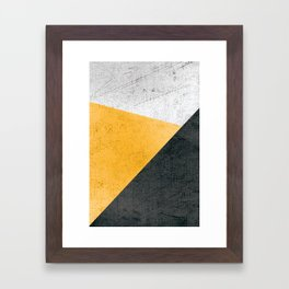 Modern Yellow & Black Geometric Framed Art Print
