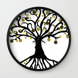 """""""Yggdrasil"""",Golden,Tree of Life,HOME DECOR,Duvet Covers,Comforters,Bed spreads,Blankets,Backpack Wall Clock"""