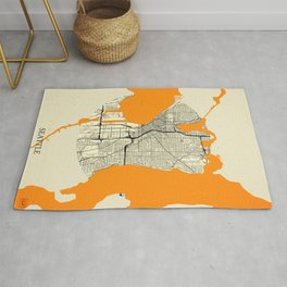 Seattle Map Moon Rug