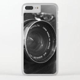 Vintage Minolta Camera 3 B&W Clear iPhone Case