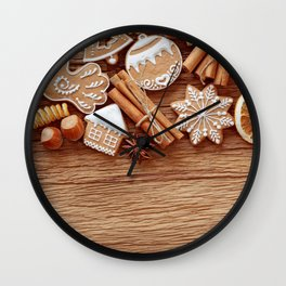Holiday Christmas Cookie Gingerbread Cinnamon Star Wall Clock