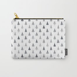 Rustic Christmas Trees Black and White Carry-All Pouch