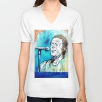 tom waits V-neck T-shirts featuring Blue Tom Waits by Mark Matlock