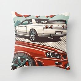 Monster Skyline GTR R32 and  R34 Throw Pillow
