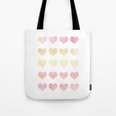Watercolor Hearts Tote Bag