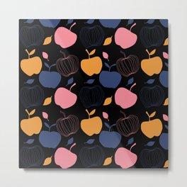 Fresh apple black Background kitchen art Metal Print