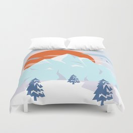 Winter breeze in Alpes Duvet Cover