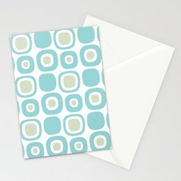 Mid Century Modern Garden Path Pattern 353 Sage and Aqua Stationery Cards