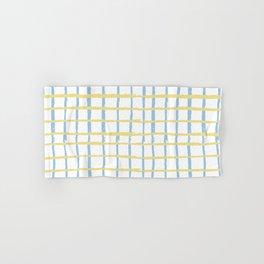 Pastel yellow teal watercolor geometrical checker stripes Hand & Bath Towel