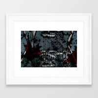 rock n roll Framed Art Prints featuring Rock 'n Fucking Roll by Eric Rasmussen