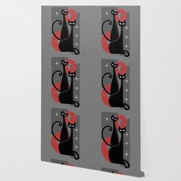 Modern Meows Atomic Age Black Kitschy Cats Wallpaper