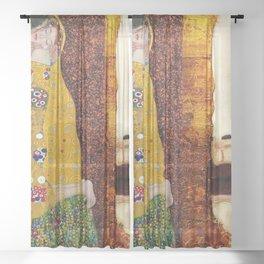 Gustav Klimt: The Kiss & Freya's Tears golden-red flower anemone college portrait painting Sheer Curtain