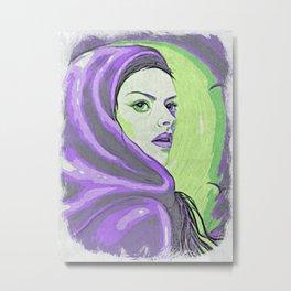 Lady In Purple Hood Metal Print