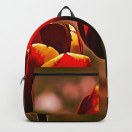 Midnight Blood Red Tulips Backpack