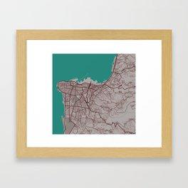 Minimalist Modern Map of Beirut, Lebanon 3 Framed Art Print