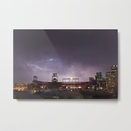 Lightning Over Coors Field Metal Print