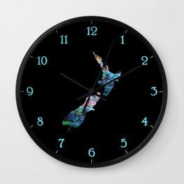NEW ZEALAND MAP PAUA Wall Clock