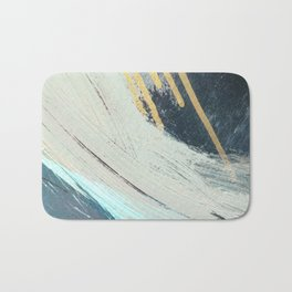 Karma: a bold abstract in blues and gold Bath Mat