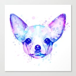 Chihuahua watercolor, Watercolor beagle, Watercolor dog, Chihuahua portrait Canvas Print