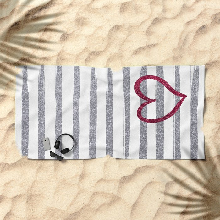 Red Heart on Shiny Silver Stripes Beach Towel