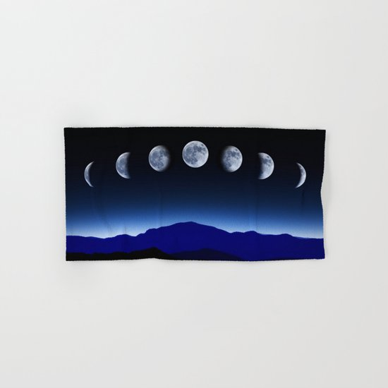 Moon Phases #blue Hand & Bath Towel