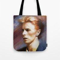 bowie Tote Bags featuring Bowie by Cristina Sandia