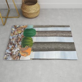 fox squirrels, heirloom pumpkins, & acorns Rug