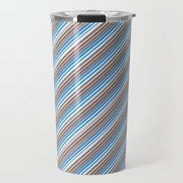 Blue Grey White Inclined Stripes Travel Mug