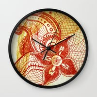 rare Wall Clocks featuring Rare Bloom by SecondLevelPrints