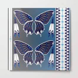 Butterfly Nation Blue Metal Print