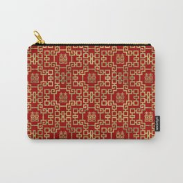Chinese Pattern Double Happiness Symbol Gold on Red Carry-All Pouch