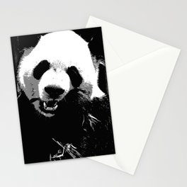 Cute Giant Panda Bear with tasty Bamboo Leaves Stationery Cards