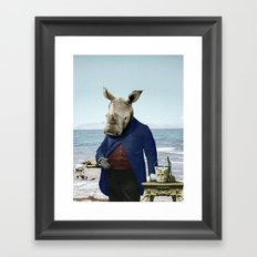 Mr. Rhino's Day at the Beach Framed Art Print